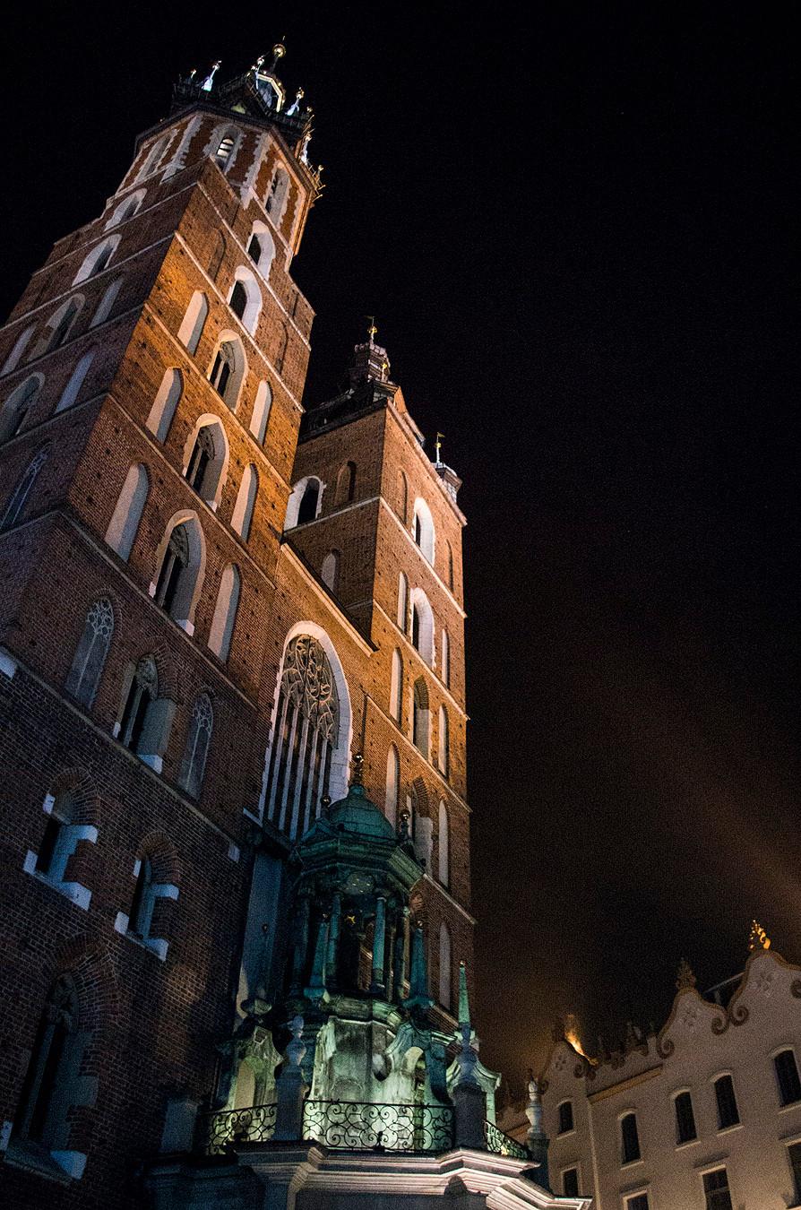 St. Mary's Basilica, Krakow, Poland at night