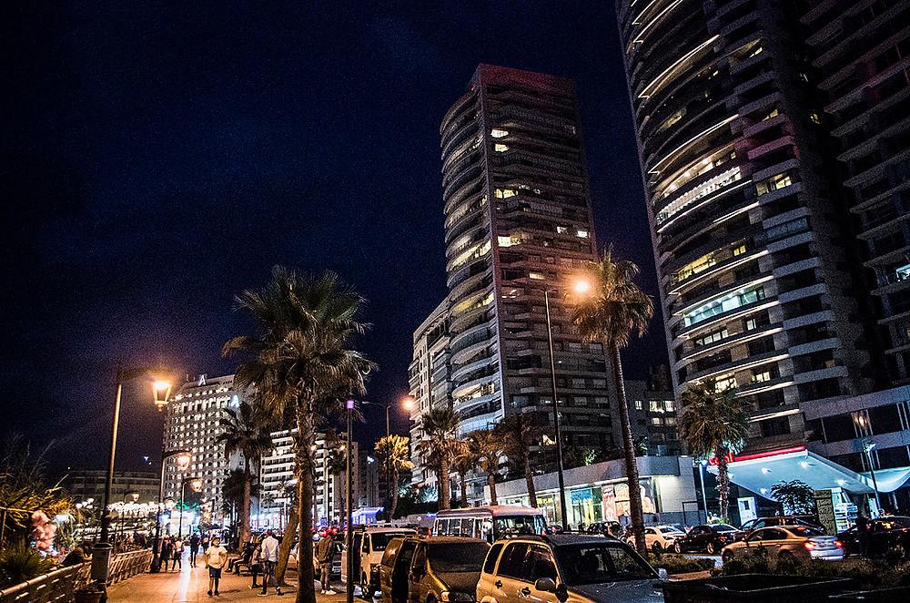 Raouche, Beirut streets at night