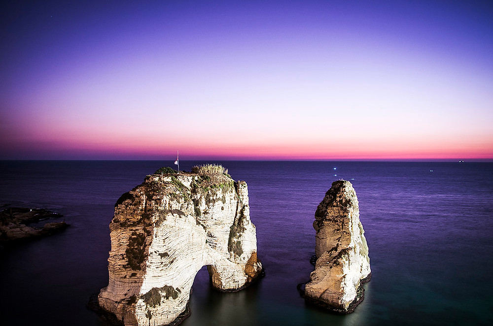 Purple sky sunset at Raouche Rocks, Beirut