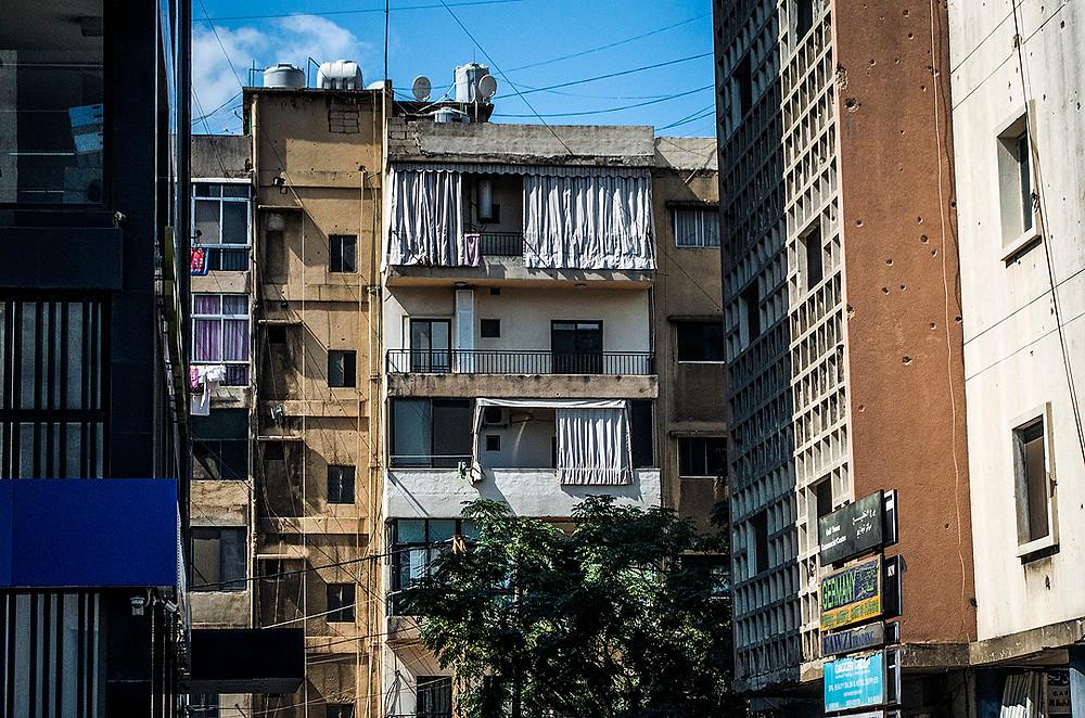 Damaged building in Baouchriyeh, Beirut