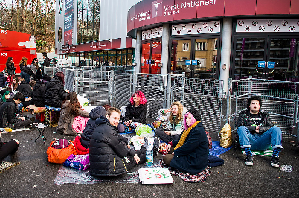 Green Day fans queuing in Brussels, Belgium