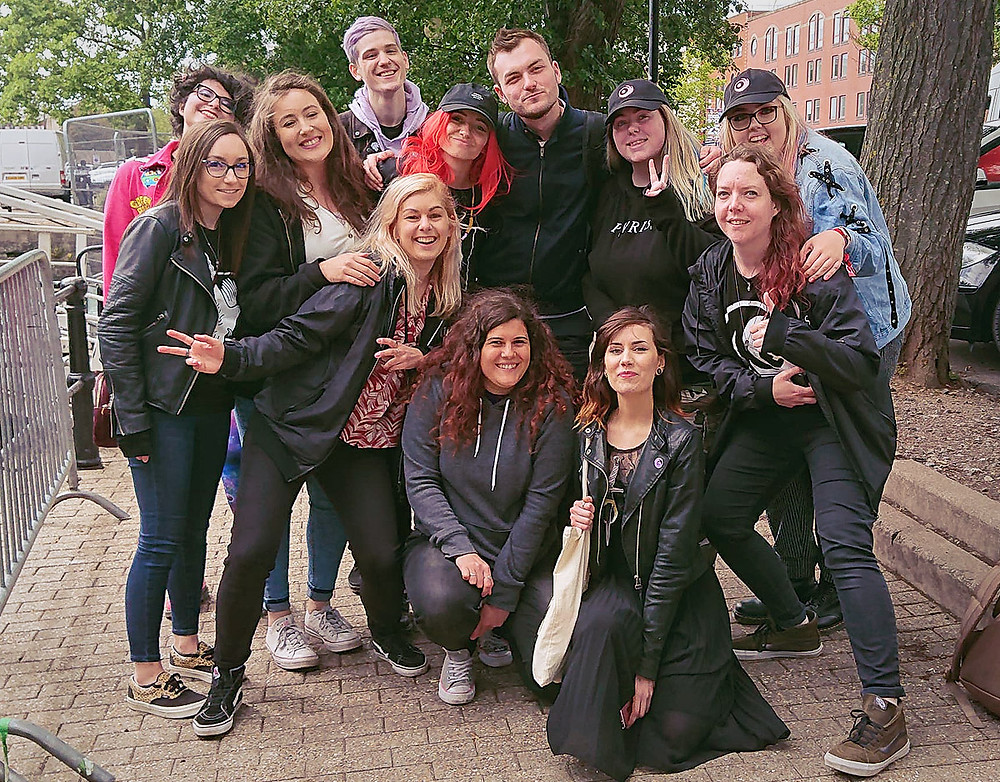 Lights meeting fans outside Thekla in Bristol, UK