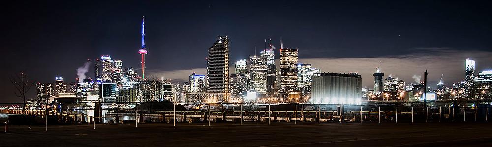 Toronto skyline panorama at night