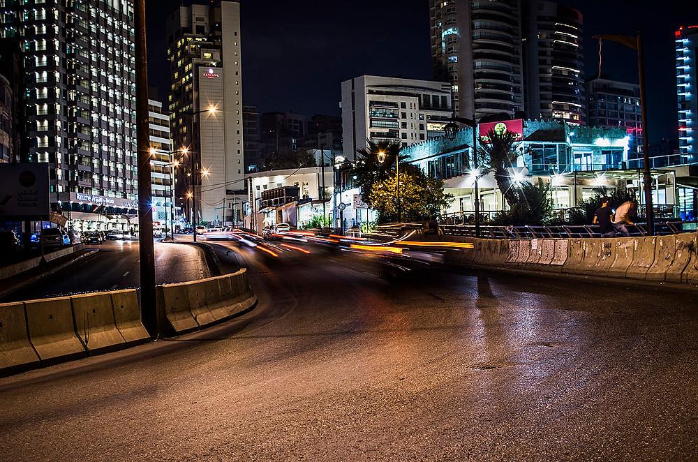 Beirut roads at night