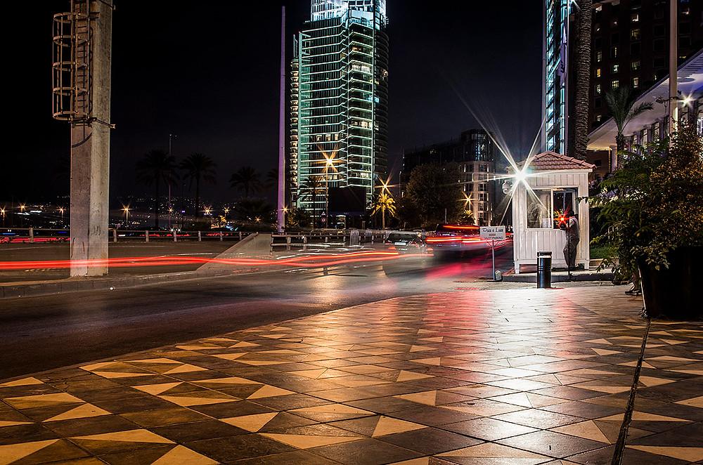 Beirut streets at night