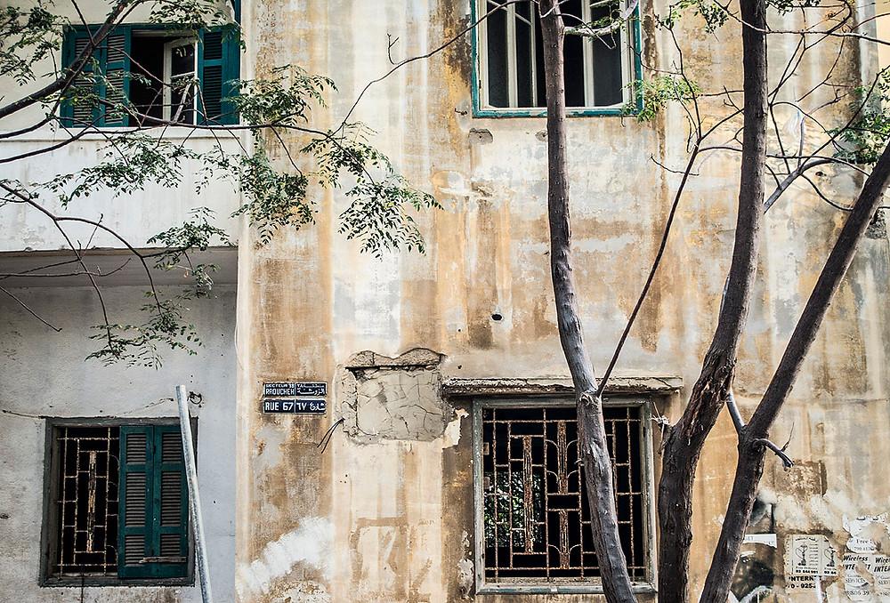 Abandoned, damaged building in Beirut, Lebanon
