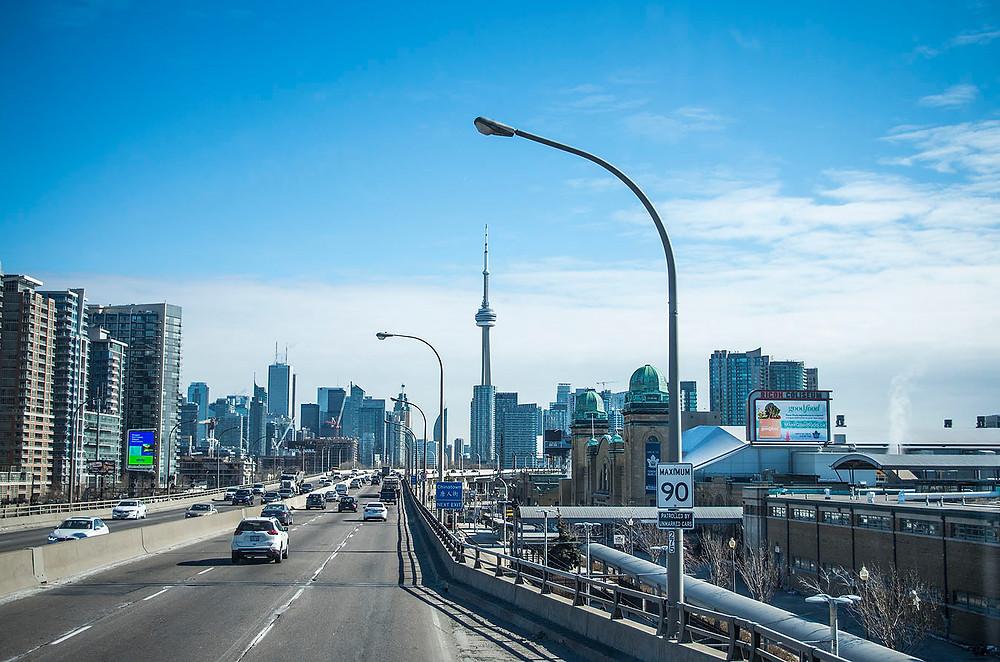 Toronto skyline from Megabus