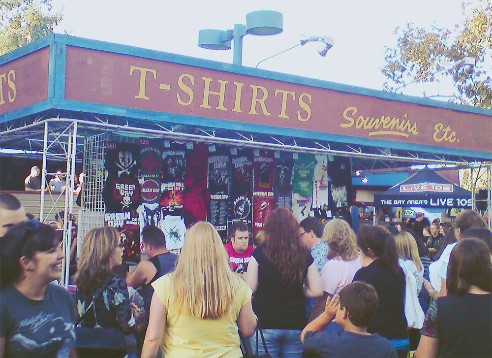 Green Day merch at the Shoreline Amphitheatre