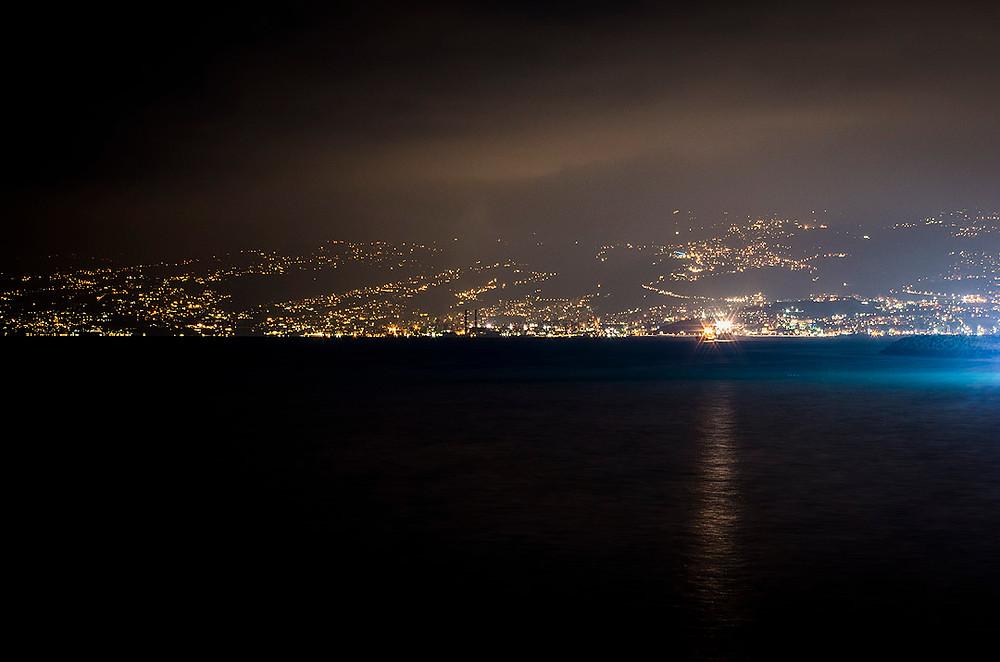 Beirut hills at night
