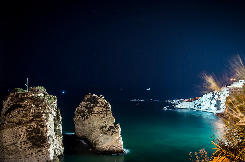 Raouche Rocks, Beirut at night