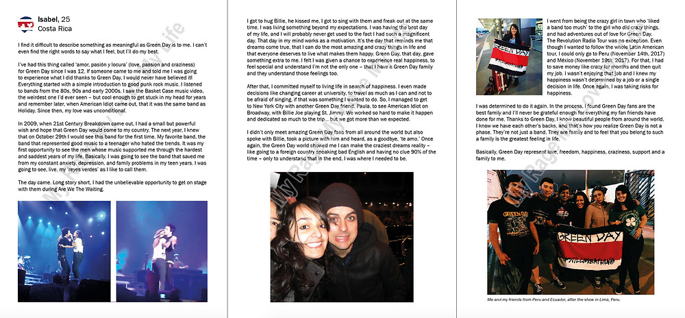 Costa Rica Green Day fan story by Isabel from the We Are Revolution Radio book