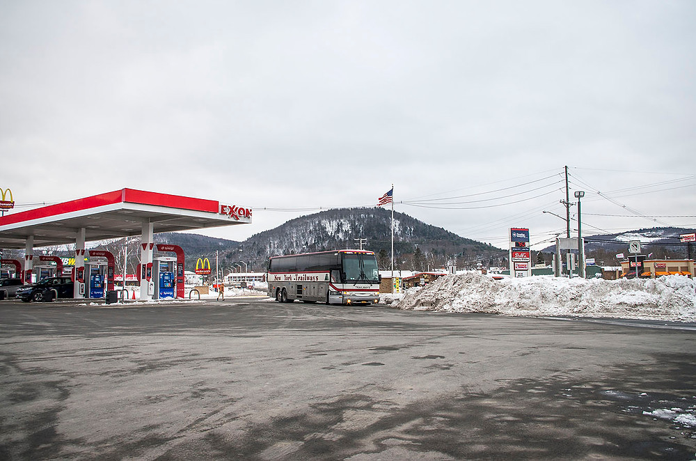 Snow at a gas station in Pennsylvania