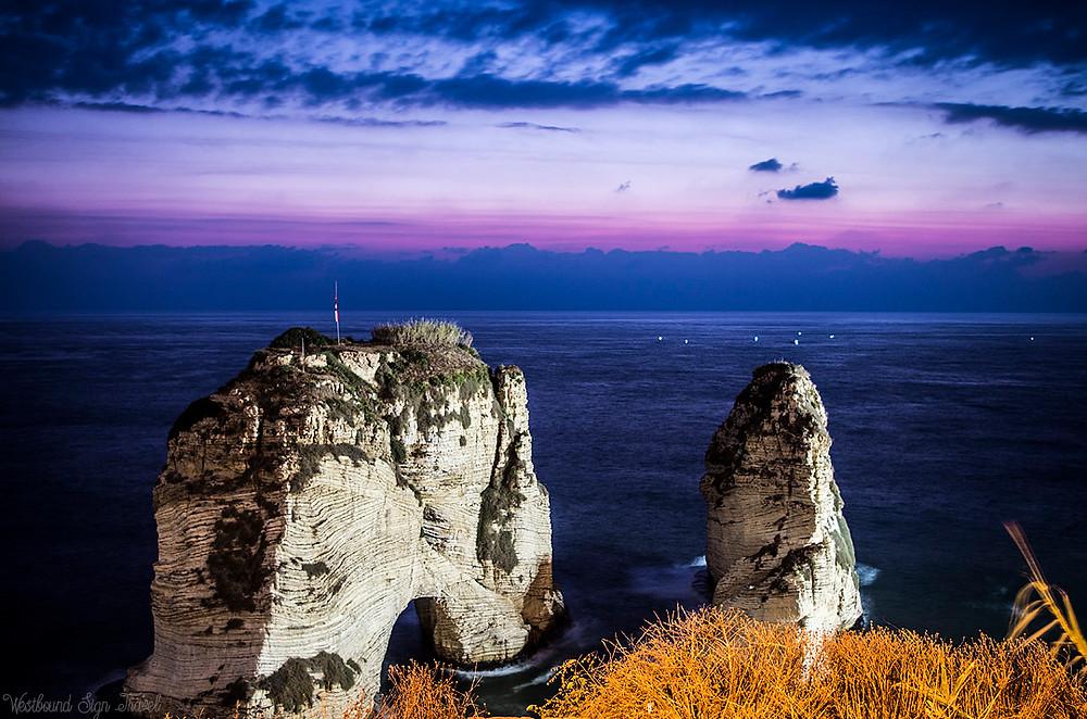 Purple sky at Raouche Rocks, Beirut