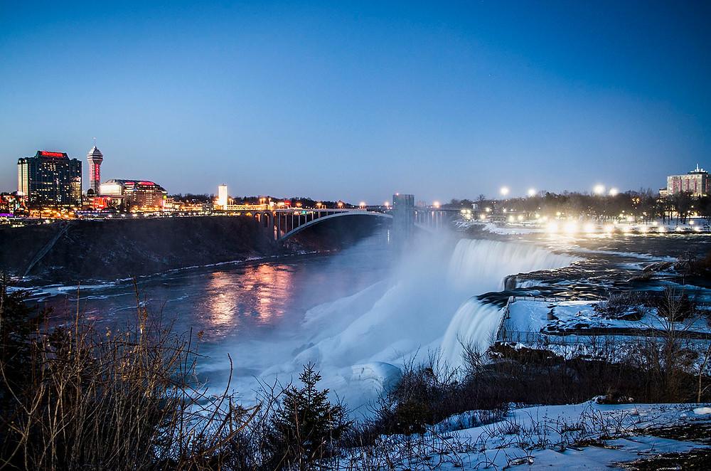 Bridal Veil Falls and Rainbow Bridge in winter