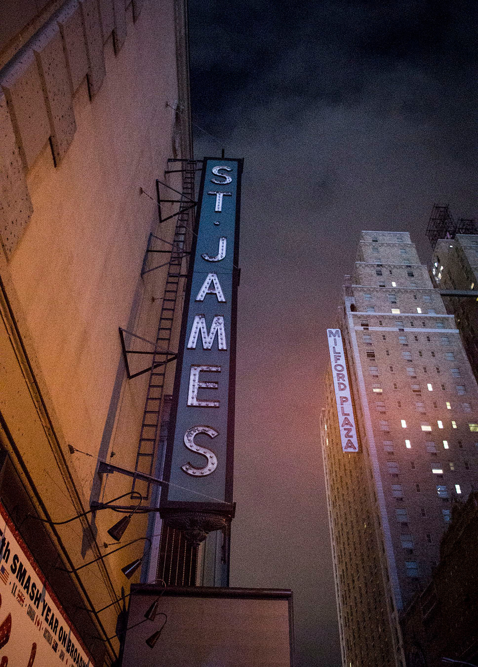 St James Theater New York at night