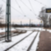 Snow at a Krakow tram stop