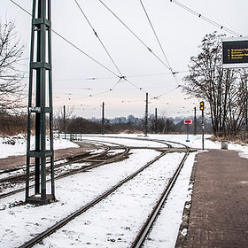 Snow at a Krakow tram stop