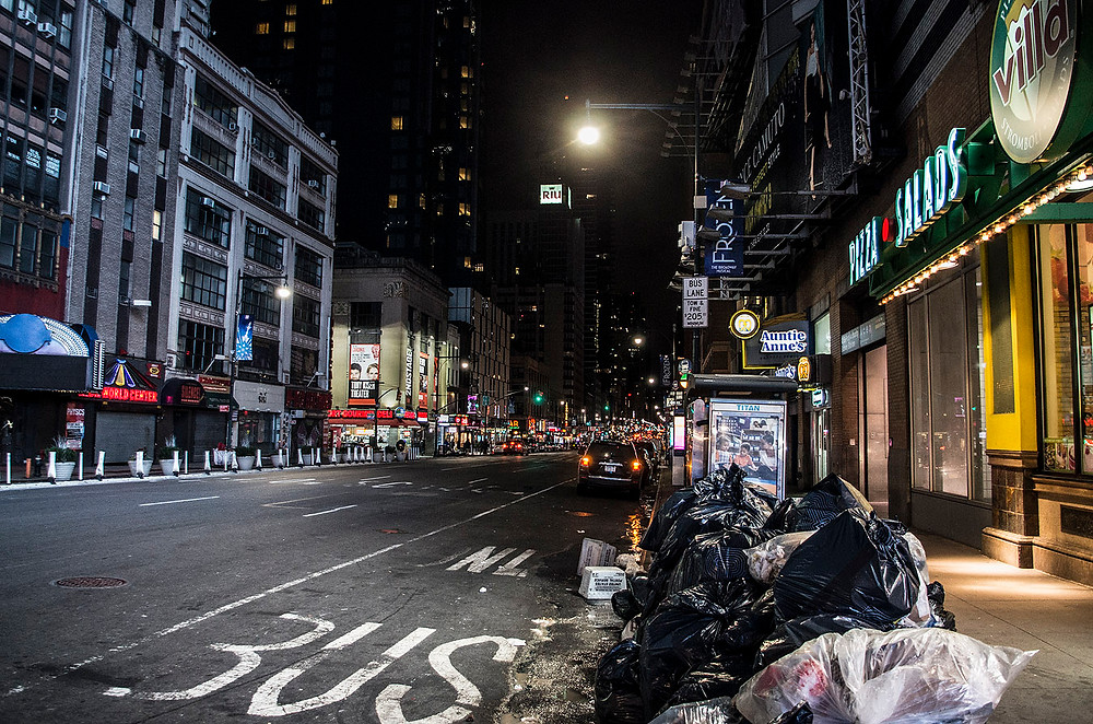 New York streets at night