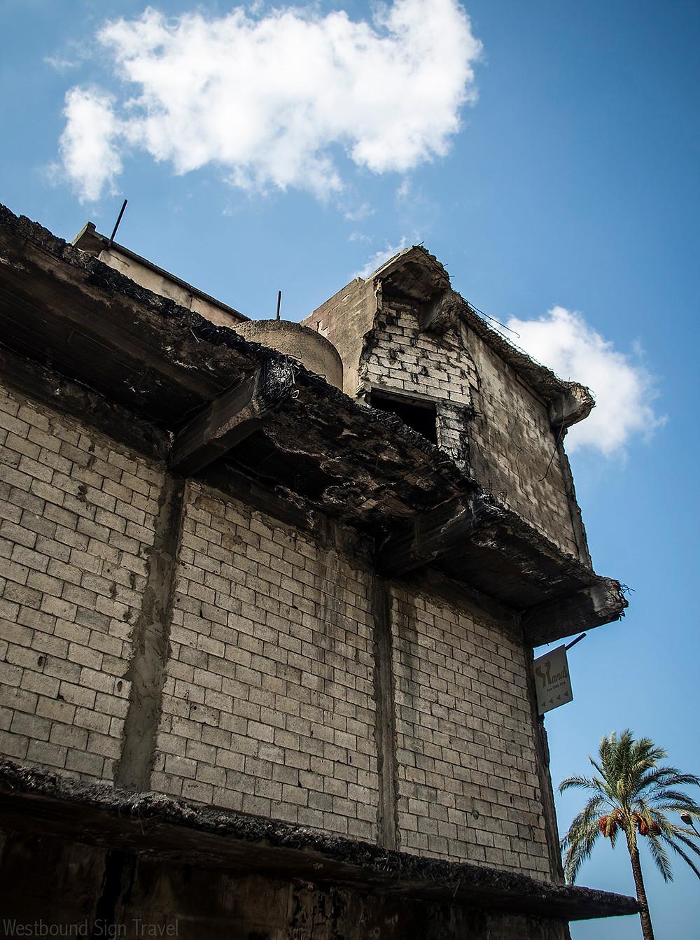 Damaged building on Beirut Sea Side Road