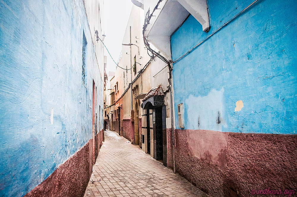 Blue and red streets in Salé Medina, Morocco