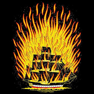 New burning ship design for t-shirts and