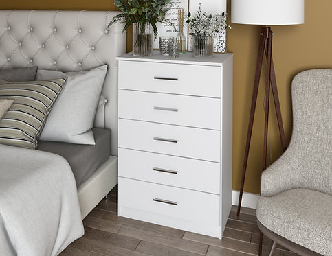 7201 - 100% Solid Wood Metro 5-Drawer Chest - White