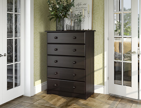 53106 - 100% Solid Wood Five Drawer Chest - Java