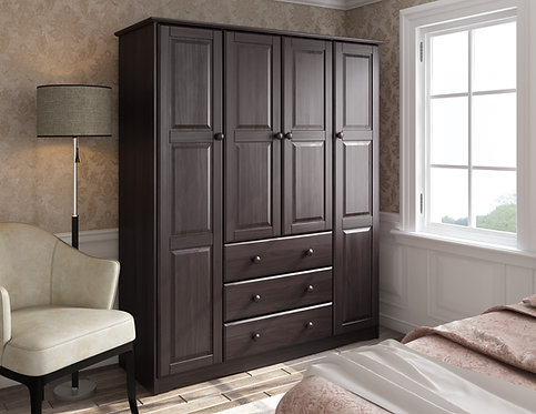 5966 -  100% Solid Wood Family Wardrobe, Java. No Shelves Included