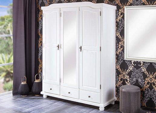 20900126 - Solid Wood Kappl Wardrobe With Mirror, 2 Locks, 3 Drawers, Whitewash