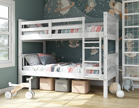 4131 - Twin Over Twin Mission Bunk Bed, White