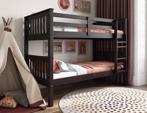 4136 - Twin Over Twin Mission Bunk Bed, Java
