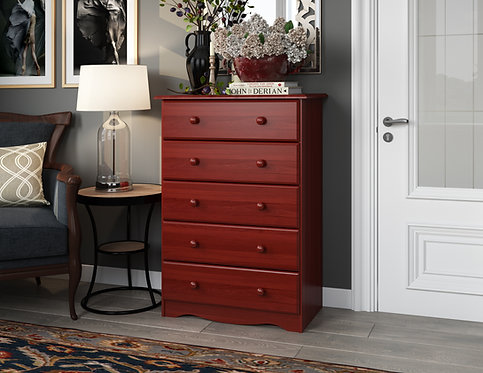 53102 -  100% Solid Wood Five Drawer Chest - Mahogany