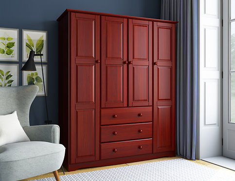 5962 -  100% Solid Wood Family Wardrobe, Mahogany. No Shelves Included
