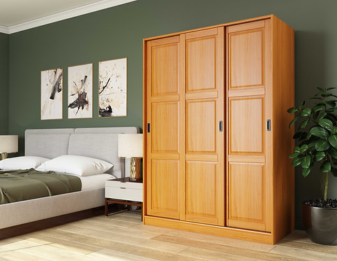 5674 - 100% Solid Wood 3-Sliding Door Wardrobe, Honey Pine