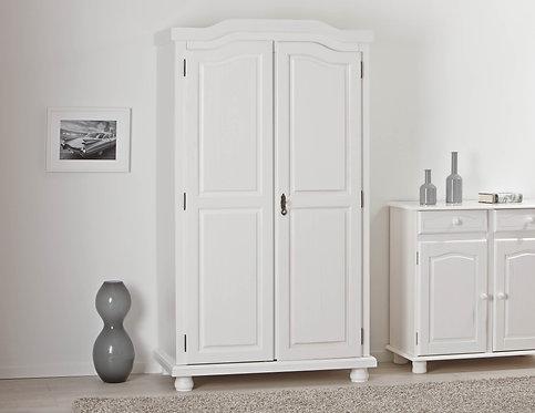 20900100- Solid Wood Hedda 2-Door Wardrobe, Whitewash. 4 Shelves Included