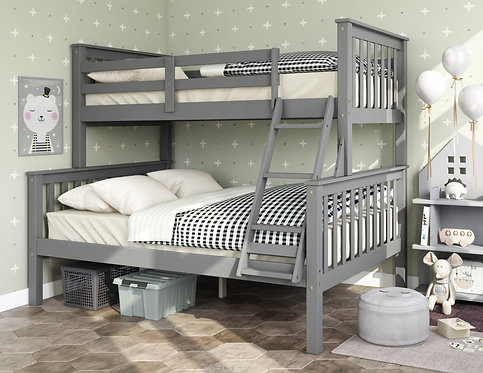 4145 - Mission Twin Over Full Bunk Bed, Gray