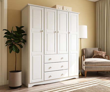 5961 - 100% Solid Wood Family Wardrobe, White. No Shelves Included