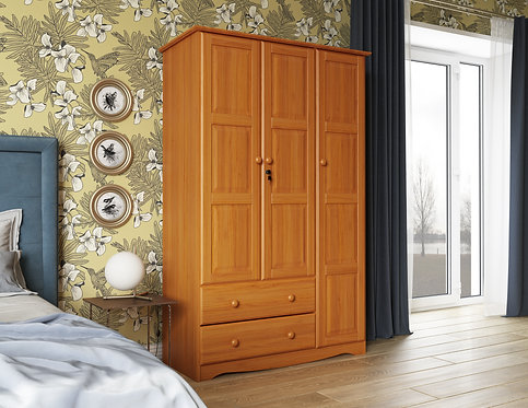 5694 - 100% Solid Wood Grand Wardrobe - Honey Pine