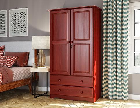 5922 - 100% Solid Wood Smart Wardrobe, Mahogany