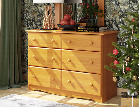 5404 - Double Dresser Honey Pine