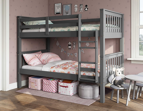 4135 - Twin Over Twin Mission Bunk Bed,Gray