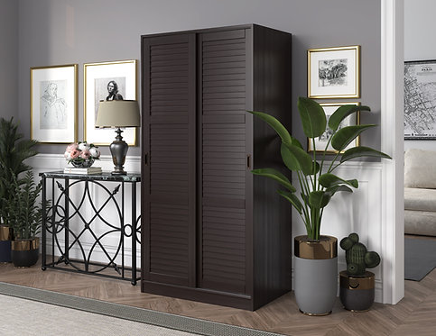 5666 - 100% Solid Wood 2-Sliding Door Wardrobe - Java