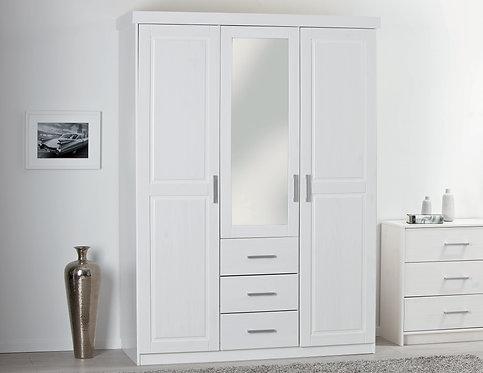 20900930 - Solid Wood Geraldo 3-Door Wardrobe With Mirror, 3 Drawers, Whitewash
