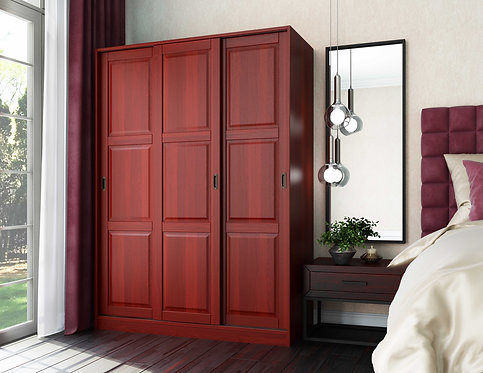 3-Sliding Door Wardrobe -Mahogany