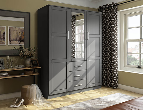 7115 -  100% Solid Wood Cosmo Wardrobe with Mirrored Door, Gray