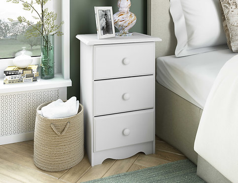 5521 - 100% Solid Wood 3-Drawer Night Stand, White