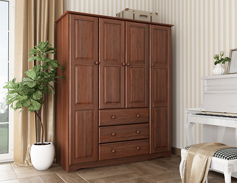 5963 -  100% Solid Wood Family Wardrobe, Mocha. No Shelves Included