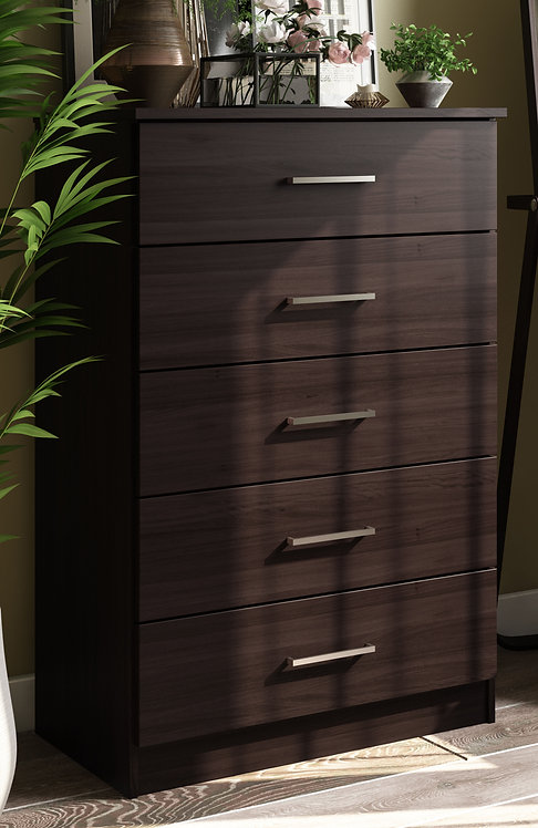 7206 - 100% Solid Wood Metro 5-Drawer Chest, Java