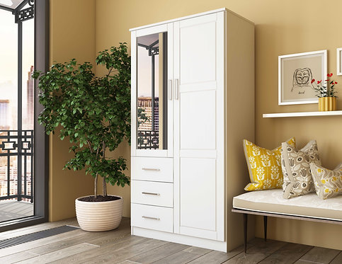 7101 - 100% Solid Wood Metro Wardrobe -White