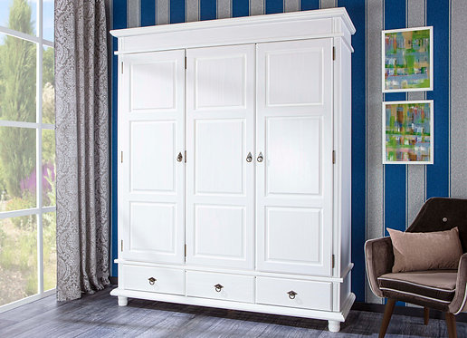 20900135 - Solid Wood Danz-3 Wardrobe, Whitewash